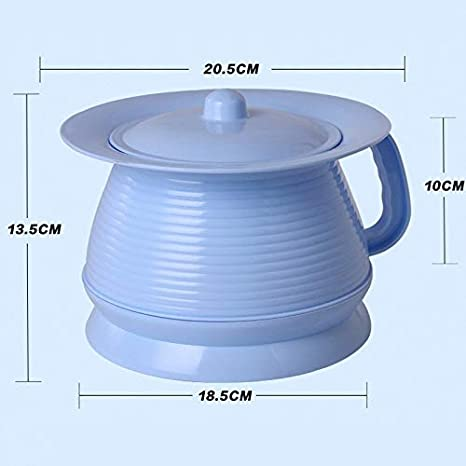 Lxrzls Urinal Basin Color : Blue Pregnant Women Potty,Urine Buckets Urinals-Adults with Lids Spittoon Heightening Non-Slip Portable