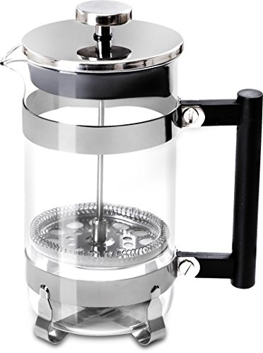 French Coffee Press (Chrome) - 32 oz Espresso and Tea Maker with Triple Filters, Stainless Steel Plunger and Heat Resistant Glass - by Utopia Kitchen