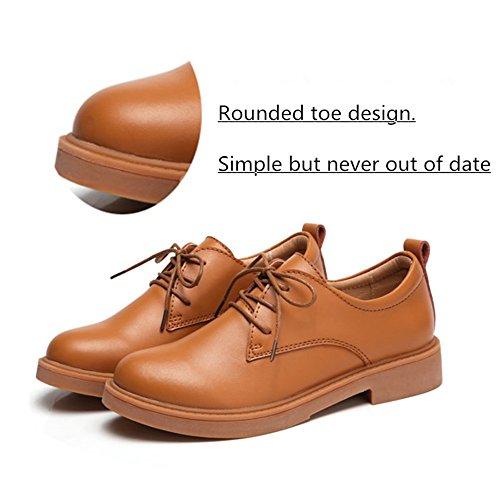 con Zapatos CM Oxford Business Piel Mujer Kotzeb Beige de para Negro 3 Marrón Zapatillas Plataforma Faux Cordones 35 Rojo Moda 40 Casual Marrón Student S5dpxx8