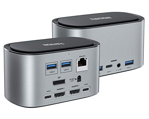 🥇 RAYROW USB-C 4K Triple Display Docking Station with SSD Enclosure & 87W PD Charging for MacBook Pro/Air & Windows Laptop Type C Adapter Systems