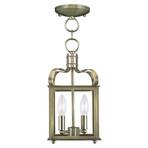 (Livex Lighting 4312-01 Garfield 2-Light Convertible Hanging Lantern/Ceiling Mount, Antique Brass)