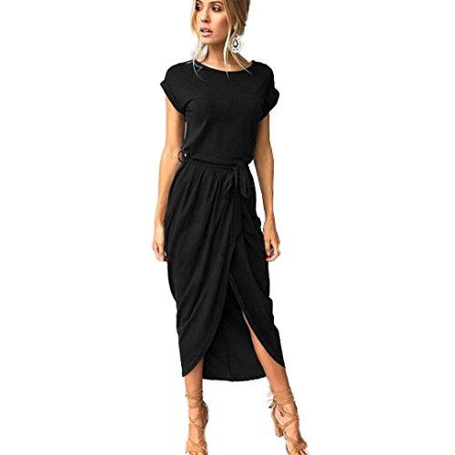 Sundress Cuello Playa Casual de Redondo Negro Verano Vintage Vestido Estampado Pocket Mangas Largo Largo Vestido ROAqt