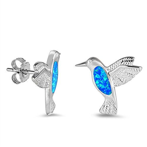 (15mm Small Hummingbird Lab Created Opal Inlay Studs Earrings 925 Sterling Silver Womens)