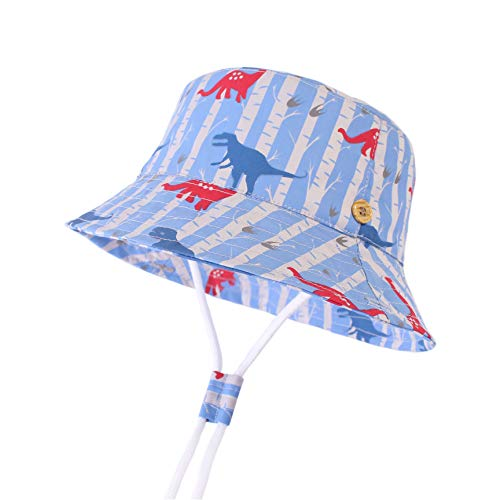LANGZHEN Sun Protection Hat for Kids Toddler Boys Girls Wide Brim Summer Play Hat Cotton Baby Bucket Hat with Chin Strap (Jungle Dinosaurs, L: 2T-4T (52cm /20.5