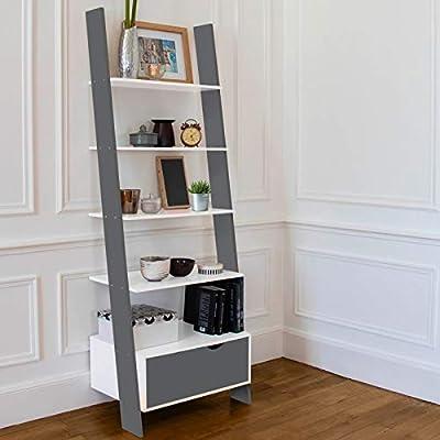 IDMarket – Estantería escalera escandinava de madera blanca y gris: Amazon.es: Bricolaje y herramientas