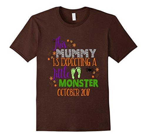 Mens Halloween Pregnancy Shirt Mummy Monster Due October 2017 XL Brown (Halloween Shop Nyc)