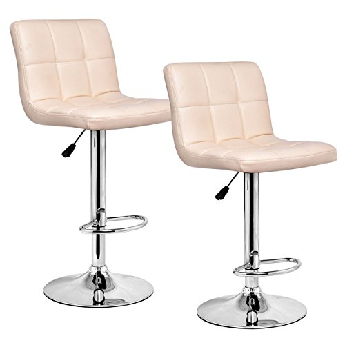 Alitop Set of 2 Modern Leather Bar Stools Adjustable Hydraulic Counter Swivel Pub Chair
