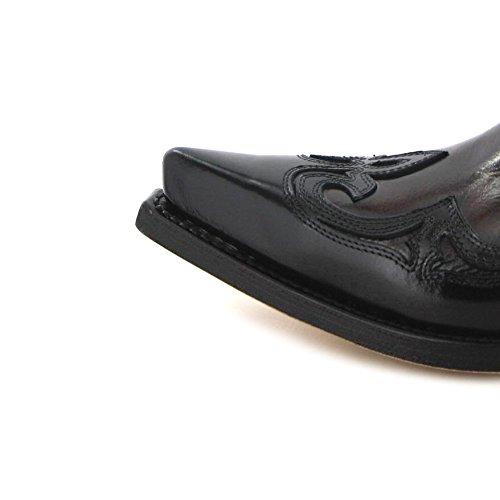 Sendra Boots Samuel 14379 Negro Cherry / Heren Western Diep Letters Zwart Rood / Cowboys Diep Belettering / Herrenstiefelette Negro Cherry