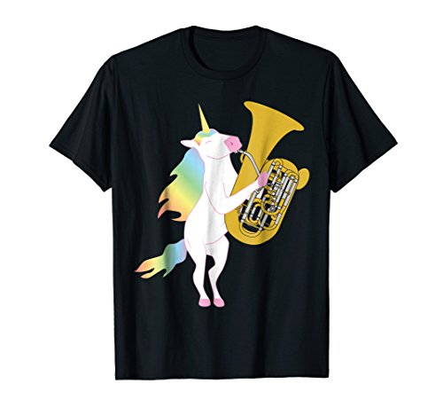 (Beautiful Unicorn Playing Tuba Musician T-Shirt)