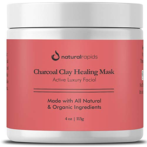 Indian Healing Clay-Charcoal Face Mask - Best For Blackheads And Acne Treatment - Calcium Bentonite Clay Mask - Facial Cleanser, Blackhead Remover, And Pore Minimizer