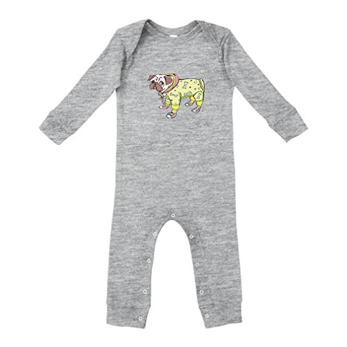 Cute Rascals Dog in Costume and Shoes Cotton Long Sleeve Envelope Neck Unisex Baby Legged Long Rib Coverall Bodysuit - Oxford Gray, (3 Legged Dog Costumes)