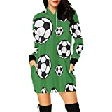 InterestPrint Soccer Graphic Women's Long Sleeve Hoodie Mini Dress Sweatshirt Medium