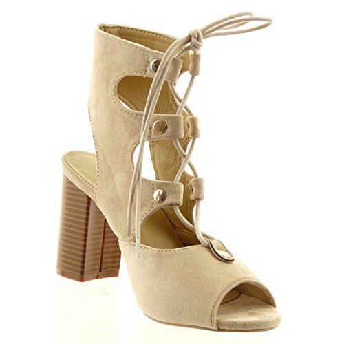 Sopily - Zapatillas de Moda Botines Tobillo mujer multi-correa cordones tachonado Talón Tacón ancho alto 8.5 CM - plantilla sintético - Beige