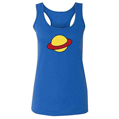 (Saturn Costume Cartoon Funny Retro Heather Royal XL Womens Tank)