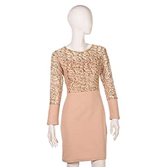 Juelle Beige Mixed Special Occasion Dress For Women