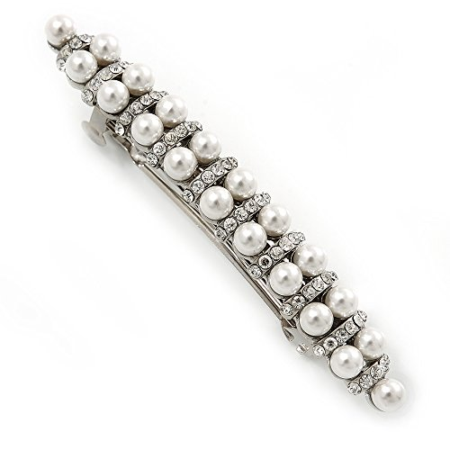 Bridal Wedding Prom Silver Tone Glass Pearl, Crystal Barrette Hair Clip Grip - 80mm W