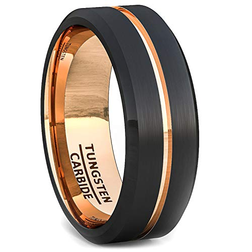 Duke Collections Mens Tungsten Ring 18k Rose Gold Plated Black Brushed with Groove Comfort Fit
