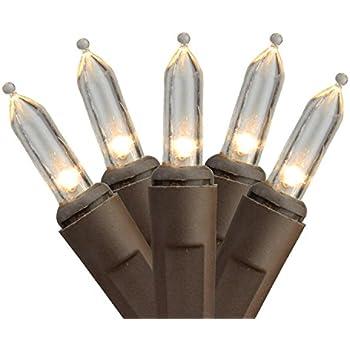 set of 100 warm white led mini christmas lights 4 spacing brown wire - Led Mini Christmas Lights