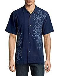Front Embroidered Playa Palms Silk Camp Shirt