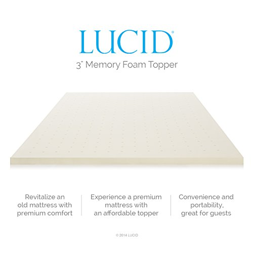 LUCID 3 Inch Ventilated Memory Foam Mattress Topper 3-Year Warranty - Queen