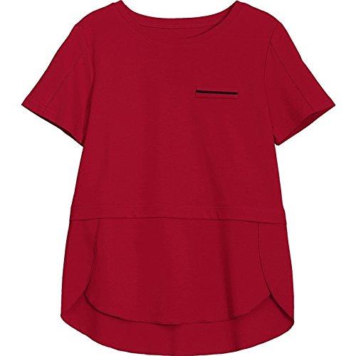 da allentata Camicia collo estiva corta manica e a agrume tinta donna cotone corto camicia unita con LFF estiva in wqd8Iq