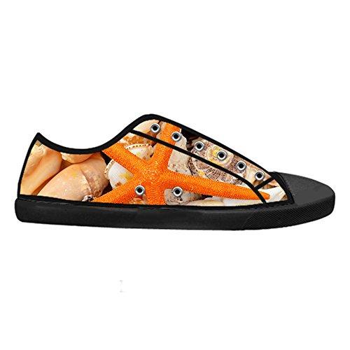 Fresco Stile Donna Scarpe Canvas Nero Sneaker Low Stella di Flat Top Classico Chiusura Pesce Traspirante Design CHEESE Lacci Personalizzato da con HpWdARAn4