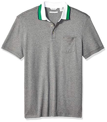 Calvin Klein Men's Short Sleeve Jacquard Polo Shirt, Medium Grey Heather, ()