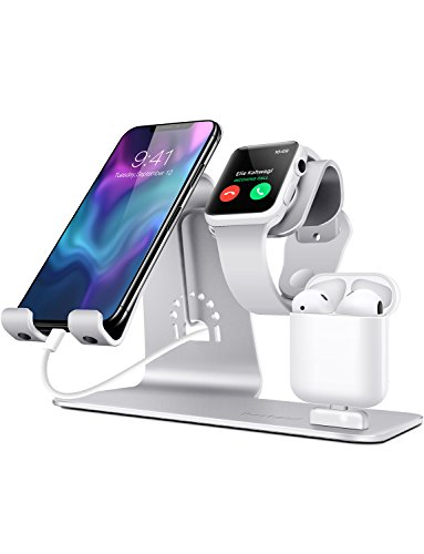 Bestand3 in 1 Apple iWatch Stand, Airpods Charger Dock, Phone Desktop Tablet Holder for Airpods, Apple Watch/ iPhone X/8 Plus/8/ 7 Plus/ iPad, Silver(Patenting, Airpods Charging Case NOT Included) (Best Docking Station For Iphone 7)