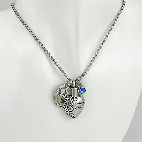 YOUFENG Urn Necklaces for Ashes Always in My Heart Love You to The Moon and Back 12 Birthstones Styles Necklace (December Birthstone URN Necklace) by YOUFENG (Image #6)