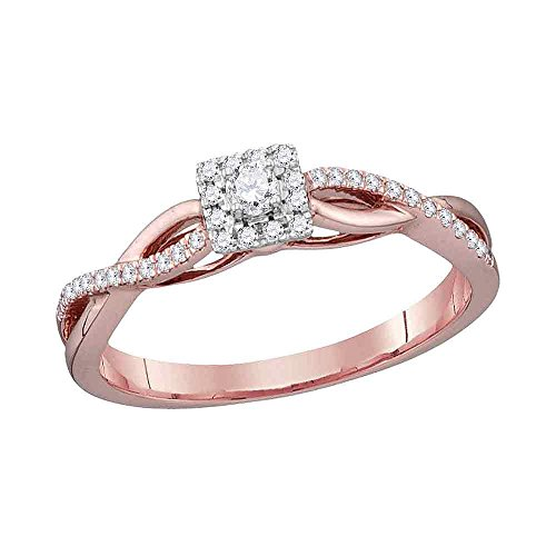 Round Diamond Square Halo Engagement Ring Solid 10k Rose Gold Infinity Band Bridal Style Small 1/5 - Square Diamond Engagement Ring