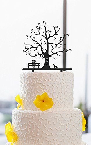 lesbian wedding cake toppers tree personalized initials 2 brides silhouette with dog