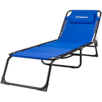 KingCamp Patio Lounge Chair Chaise Bed 3 Adjustable Reclining Positions  Steel Frame 600D Oxford Folding Camping Cot With Removable Pillow For  Camping Pool ...