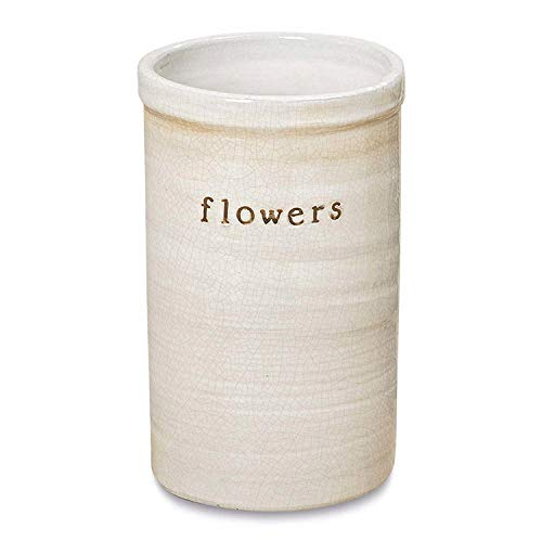Farmer's Market Flower Vase, Rustic White, Crackle Glazed, Rustic Terracotta, Ceramic, Wide Mouth, Round, 9 1/2 Inches Tall