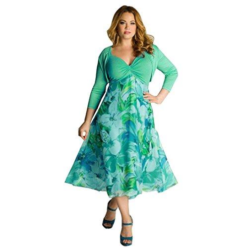 Hemlock Plus Size Dress, Women Summer Floral Boho Dress Casual Chiffon Dress (XL, Green)
