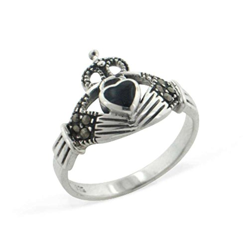 Black Onyx and Marcasite Celtic Claddagh Sterling Silver Ring Size 8(Sizes 4,5,6,7,8,9,10)