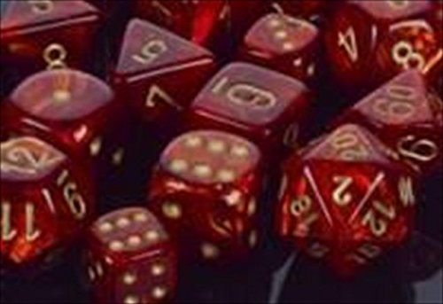 Chessex Manufacturing 27614 16 mm Scarab Scarlet With Gold Numbers D6 Dice Set Of 12 by Chessex Manufacturing