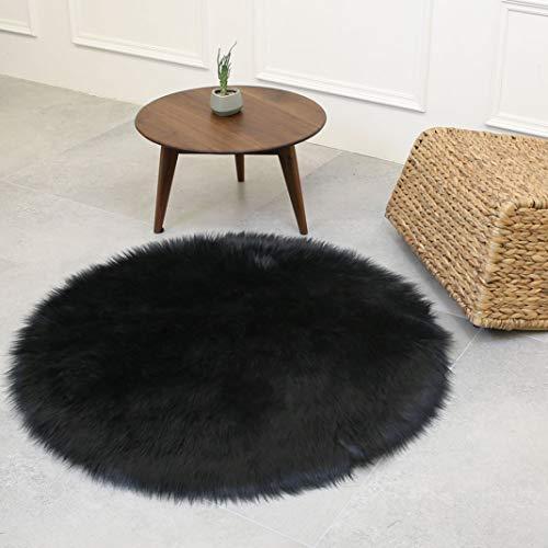 Kievil Wool Circular Carpet Parlor Multicolored Carpet Floor Home Chair Decoration Anti-Skid Bedroom Fluffy Floor Rugs