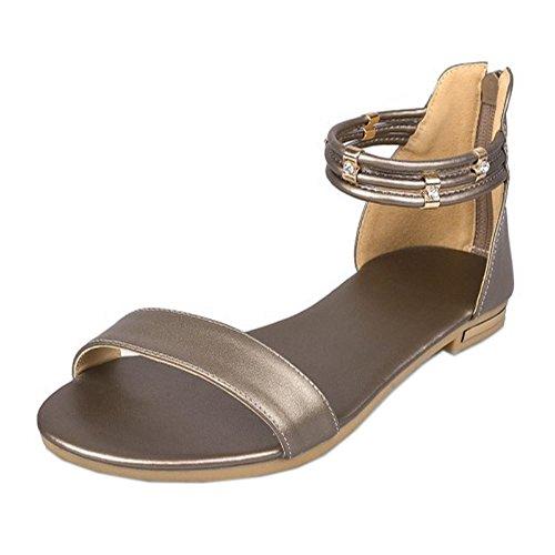 COOLCEPT Mujer Moda Correa de Tobillo Sandalias Punta Abierta Plano Zapatos con Cremallera Champan