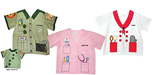 Aeromax My 1st Career Gear Assortment: Chef, Pink Doctor and Zookeeper Shirt (3 Piece Bundle) (Zookeeper Costume)