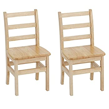 Image of ECR4Kids 14' Hardwood 3-Rung Ladder-back Chair, Natural (Pack of 2) Home and Kitchen