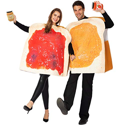 Halloween Bread Costume (Peanut Butter and Jelly PBJ Costume Adult Couple Set w/one Peanut Butter Plush and One Jelly Plush for)