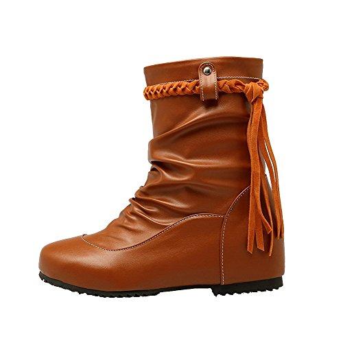 PU Braun Zehe Niedriger Stiefel auf AgeeMi Shoes Absatz Dunkel Rund Ziehen Damen 8xqBPXI1