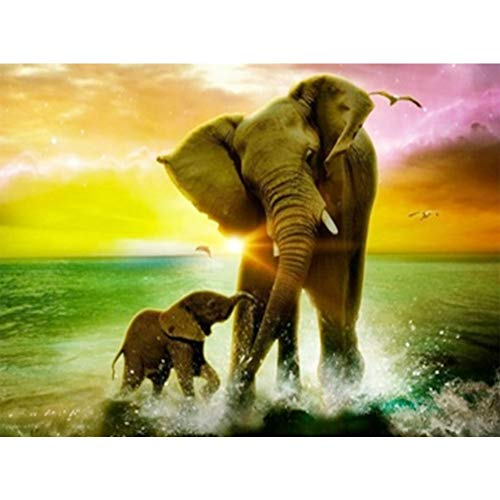 5D Diamond Painting by Number Kit, Full Drill Playing Elephant Mother and Child Flowers Rhinestone Embroidery Cross Stitch Supply Arts Craft Canvas Wall Decor