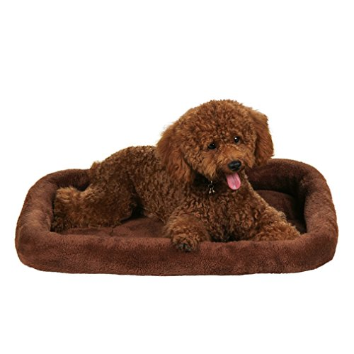 QIAOQI Dog Bed Bolster Fashion Breathable Pets Bed Dogs Cats Cushion Mats Large Brown by QIAOQI