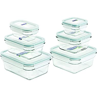 Glasslock 12-Piece Rectangle and Square Assorted Oven Safe Container Set