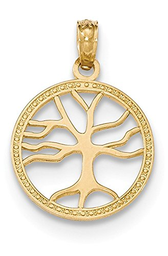 14k Yellow Gold Polished 3-D Small Tree Of Life in Round Frame Pendant, 15mm diameter (Yellow Life Gold 14k)
