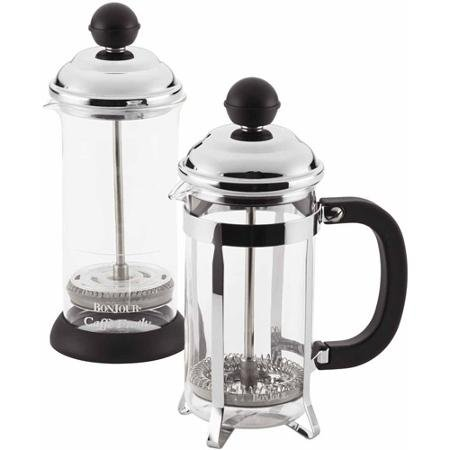 BonJour Coffee 3-Cup Bijoux French Press and 2-Cup Frother Set, Black (French Bonjour Press 3 Cup)