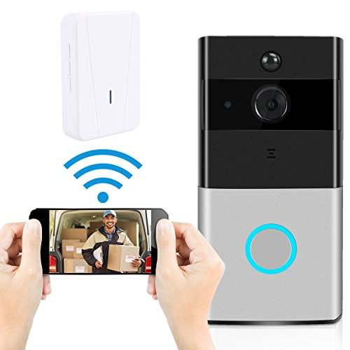 Video Doorbell, Ustyle Wireless Door Bell Smart WiFi Camera Video Doorbell Security Camera with Motion Detection 720P HD, Real-Time Two-Way Talk and Video, Night Vision (With Indoor Chime ) by Ustyle