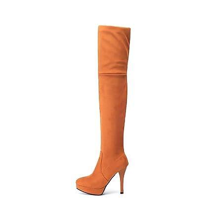 f9fe4c11442 HYLFF Knee High Boots for Women Flat Suede Over Knee Boots Ladies Thigh  Boots Long High