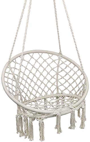 Hammock Chair Macrame Swing, Hanging Chair for Reading Leisure, 330 Pound Capacity, Perfect for Indoor Outdoor Home, Garden, Deck, Yard
